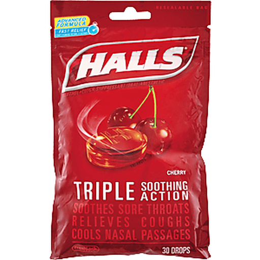 Halls Cough Suppressant/Oral Anesthetic, Menthol, Cherry Flavor