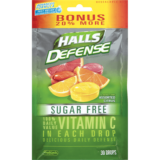 Halls Defense Assorted Citrus Sugar Free Antioxidant Vitamin C Dietary Supplement Drops 30 ct Bag
