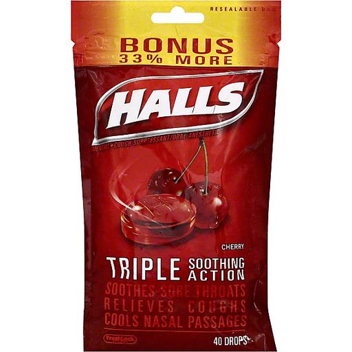 Halls Cough Suppressant/Oral Anesthetic, Menthol, Cherry, Bonus