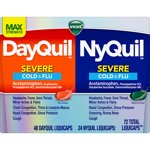 Vicks DayQuil and NyQuil SEVERE Cold, Flu and Congestion Medicine, 72  LiquiCaps Convenience Pack,- Relieves Cough, Sore Throat, Congestion, Fever  and Runny Nose, Daytime & Nighttime   Shop   Superlo Foods