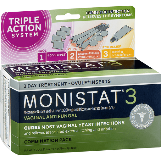 Monistat 3 Complete Therapy Vaginal Antifungal 3 Day Treatment