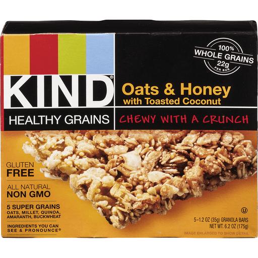 Kind Healthy Grain Granola Bars, Oats & Honey, with Toasted Coconut