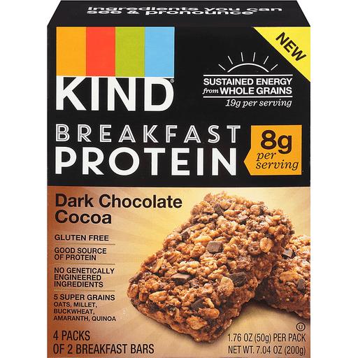 Kind Breakfast Protein Breakfast Bars, Dark Chocolate Cocoa