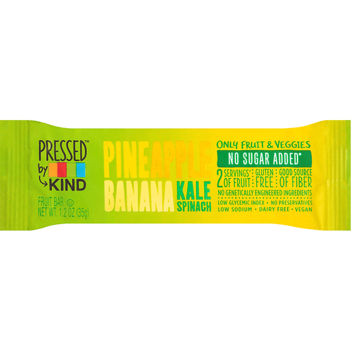 Kind Pressed Fruit Bar, Pineapple Banana Kale Spinach