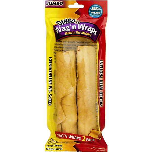 Dingo Meat in the Middle! Treat for Dogs, Wag'n Wraps, Chicken Basted Flavor, Jumbo