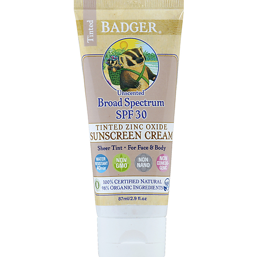 Badger Tinted Zinc Sunscreen - Spf 30