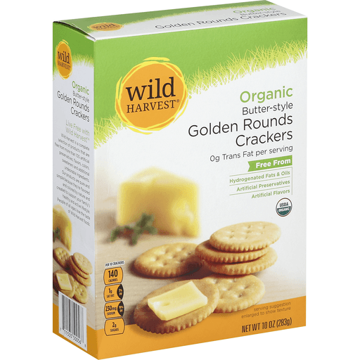 Wild Harvest Crackers, Golden Rounds, Organic, Butter-Style