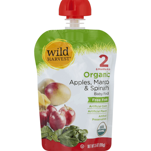 Wild Harvest Baby Food, Organic, Apples, Mango & Spinach, 2 (6 Months & Up)