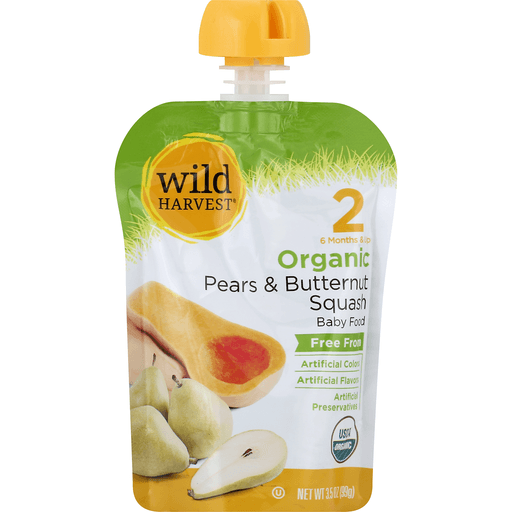 Wild Harvest Baby Food, Organic, Pears & Butternut Squash, 2 (6 Months & Up)