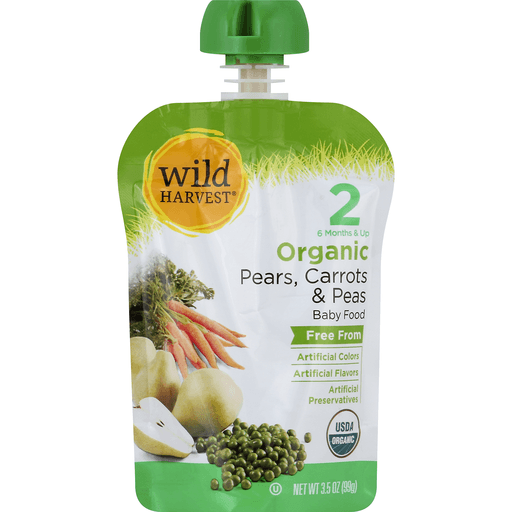 Wild Harvest Baby Food, Organic, Pears, Carrots & Peas, 2 (6 Months & Up)