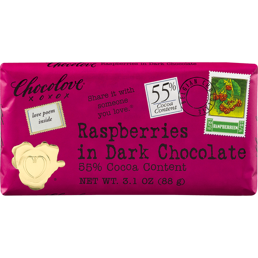 Chocolove Bar, Raspberries in Dark Chocolate