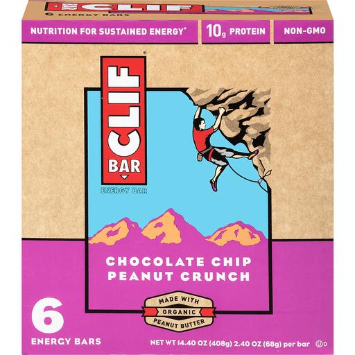 Clif Bar Energy Bar Chocolate Chip Peanut Crunch - 6 CT