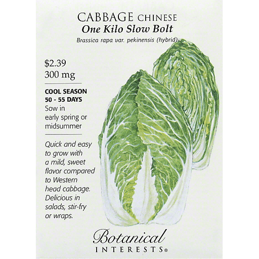 Botanical Interests Seeds Cabbage Chinese One Kilo Slow Bolt