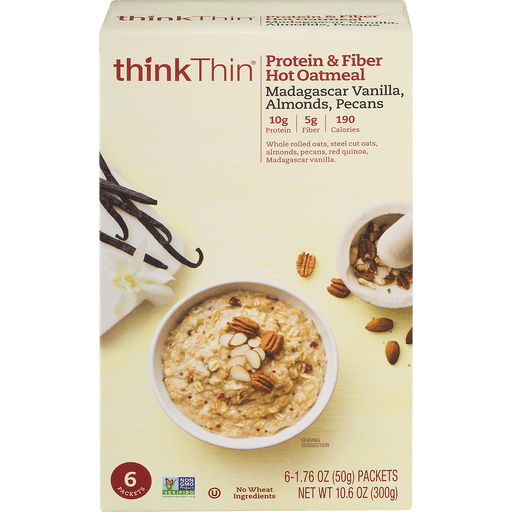 ThinkThin Oatmeal, Hot, Protein & Fiber, Madagascar Vanilla, Almonds, Pecans