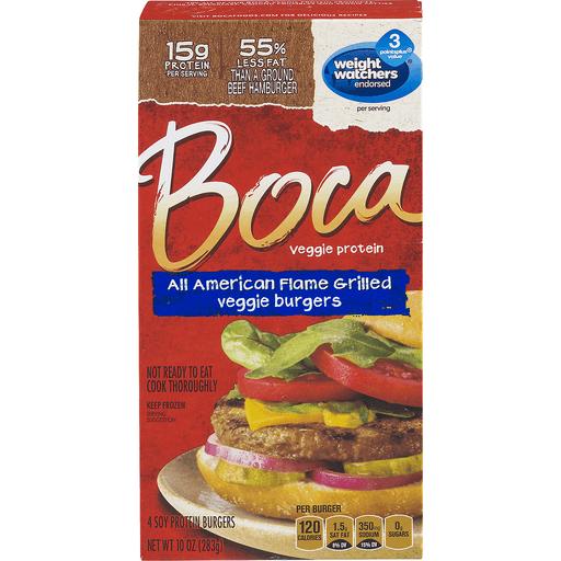 Boca Veggie Burgers, All American, Flame Grilled