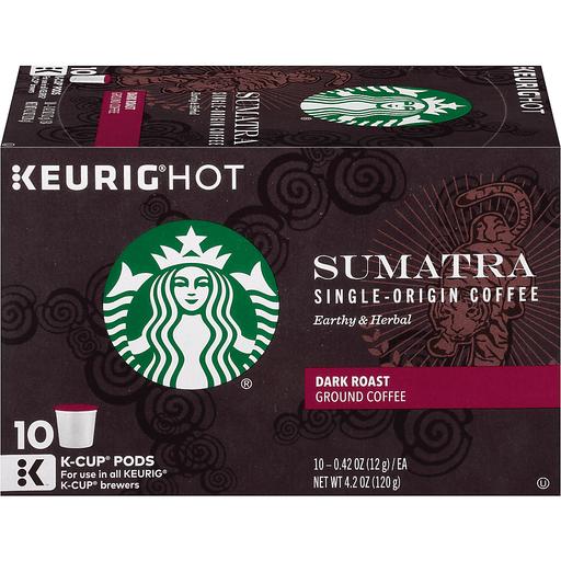 Starbucks Keurig Hot Coffee, Ground, Dark Roast, Sumatra Single-Origin, K-Cup Pods