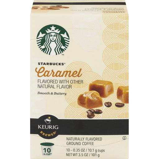 Starbucks Keurig Hot Coffee, Ground, Caramel Flavored, K-Cup Pods