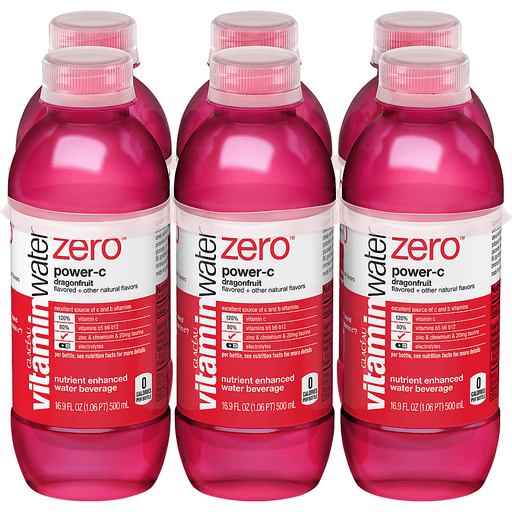 vitaminwater Zero Power-C Nutrient Enhanced Water Beverage Dragonfruit - 6 PK