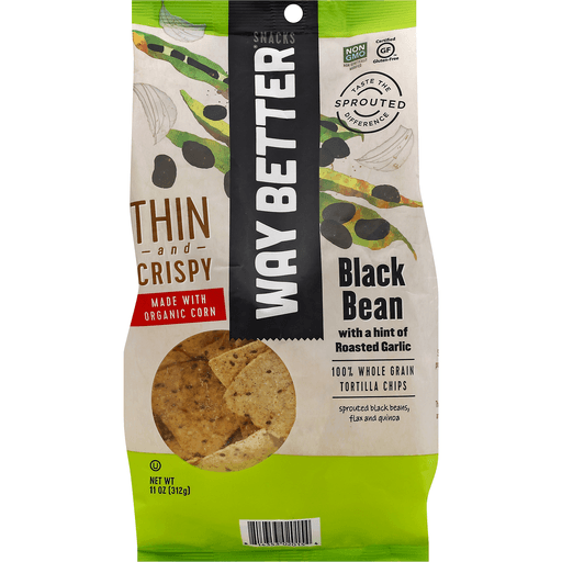 Way Better Tortilla Chips, 100% Whole Grain, Black Bean with a Hint of Roasted Garlic