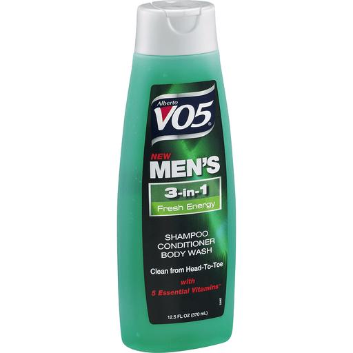Alberto VO5 Men's Shampoo, Conditioner, Body Wash, 3-in-1, Fresh Energy