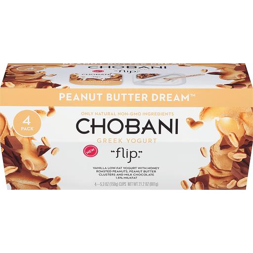 Chobani Flip Yogurt, Greek, Low-Fat, Peanut Butter Dream, Value 4 Pack