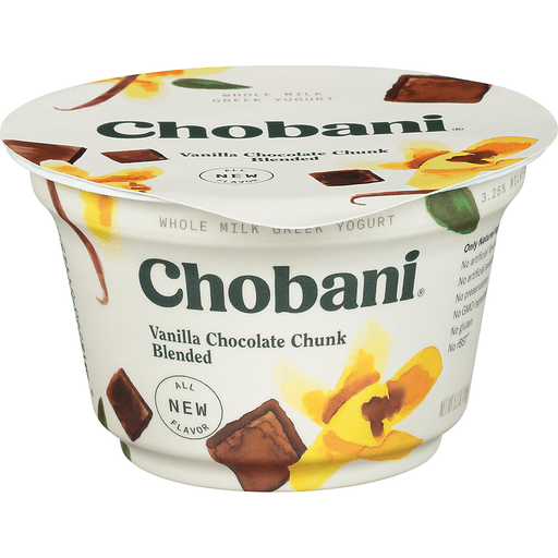 Chobani Yogurt, Greek, Whole Milk, Vanilla Chocolate Chunk Blended