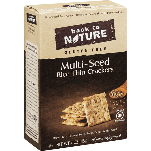 Back to Nature Crackers, Rice Thin, Gluten-Free, Multi-Seed