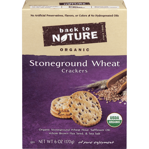 Back to Nature Crackers, Organic, Stoneground Wheat