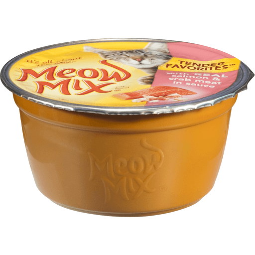 Meow Mix Tender Favorites Cat Food, with Real Salmon & Crab Meat in Sauce