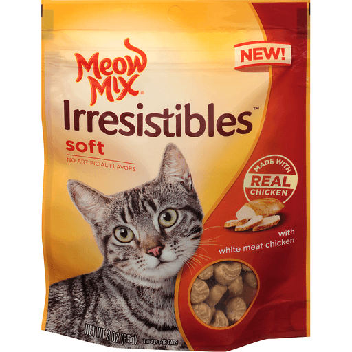 Meow Mix Irresistibles Treats for Cats, with White Meat Chicken, Soft