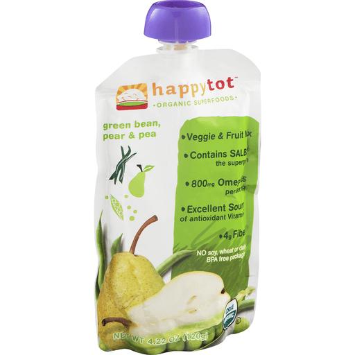 Happy Tot Organics Super Foods Fruit & Veggie Blend, Organic Pears, Peas & Green Beans + Super Chia, 4 (Tots & Tykes)