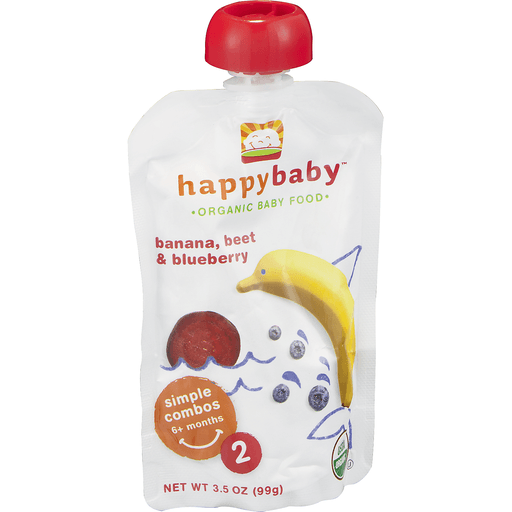 Happy Baby Organics Baby Food, Organic, Bananas, Beets & Blueberries, 2 (6+ Months)