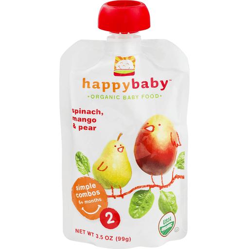 Happy Baby Organics Baby Food, Organic, Pears, Mangos & Spinach, 2 (6+ Months)