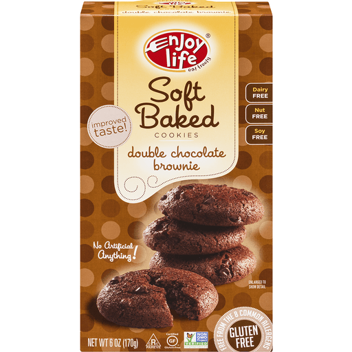 Enjoy Life Foods Gluten Free, Allergy Friendly Double Chocolate Brownie Soft Baked Cookies, 6 oz, 1 ct