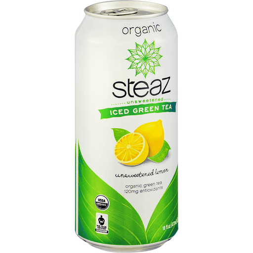 Steaz Iced Green Tea, Organic, Unsweetened Lemon Flavored