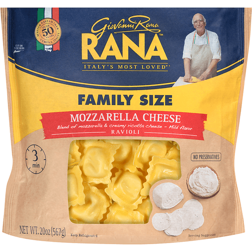 Rana Ravioli, Mozzarella Cheese, Family Size
