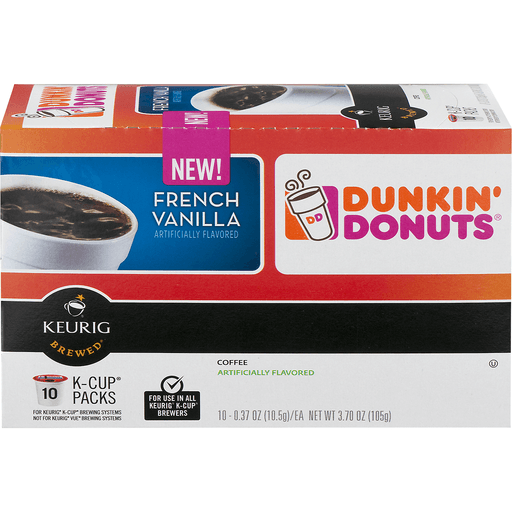 Dunkin Donuts Keurig Hot Coffee, French Vanilla, K-Cup Pods