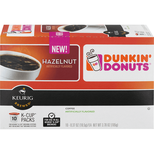 Dunkin Donuts Keurig Hot Coffee, Hazelnut, K-Cup Pods