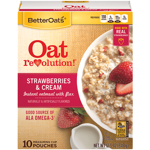 Better Oats Oat Revolution! Oatmeal, Instant, with Flax, Strawberries & Cream, Measuring Cup Pouches