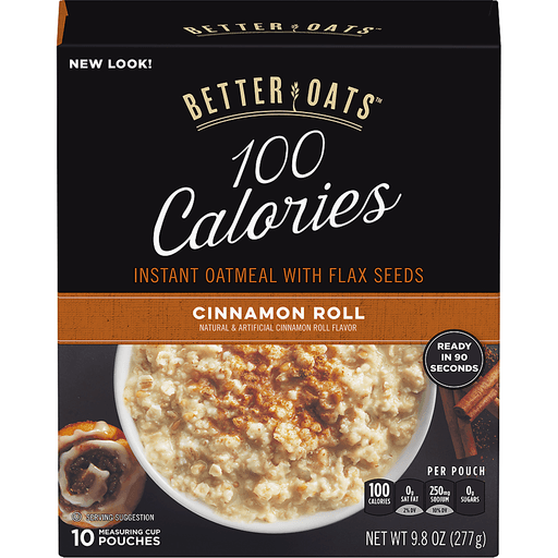 Better Oats Oat Fit Oatmeal, Instant, with Flax, Cinnamon Roll, Measuring Cup Pouches