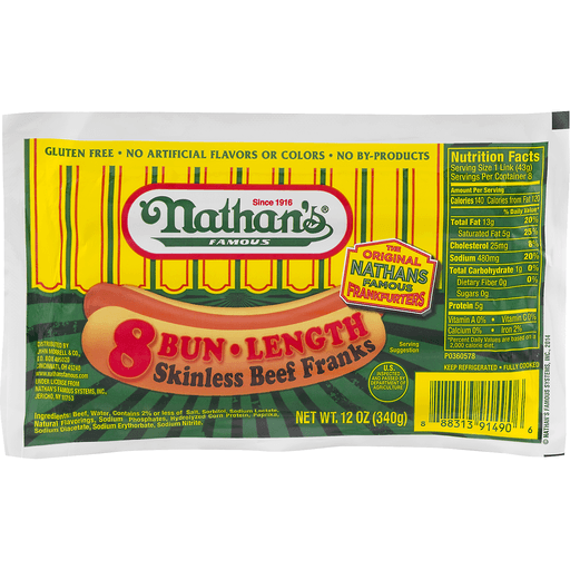 Nathans Famous Franks, Beef, Skinless, Bun Lengh