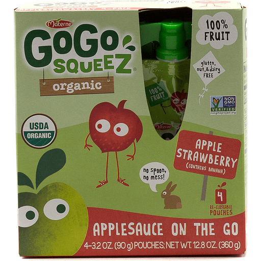 GoGo Squeez Organic Applesauce On The Go Apple Strawberry - 4 CT
