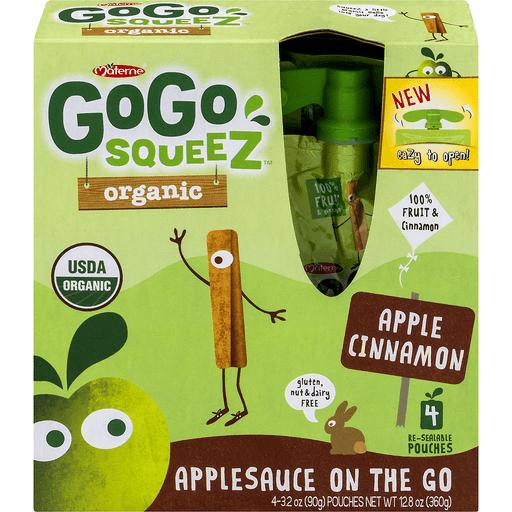 GoGo Squeez Applesauce, On the Go, Organic, Apple Cinnamon