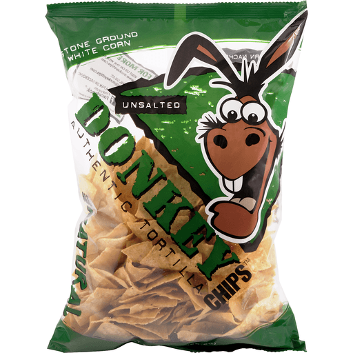 Donkey Chips Tortilla Chips, Authentic, Unsalted
