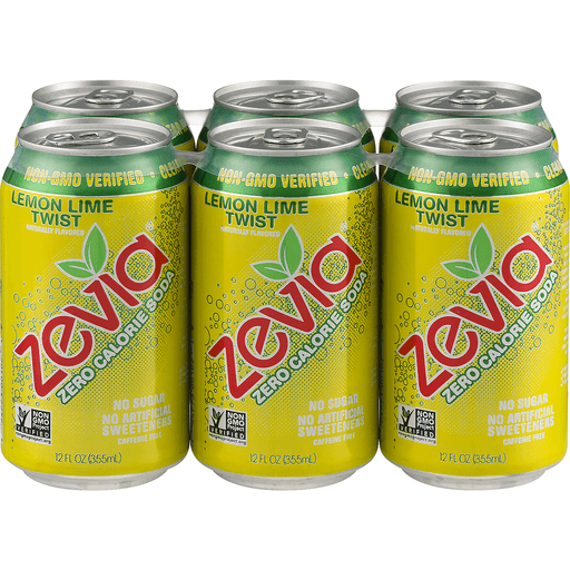 Zevia Soda, Zero Calorie, Lemon Lime Twist
