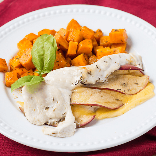 Apple Gouda Stuffed Chicken with Sweet Potatoes