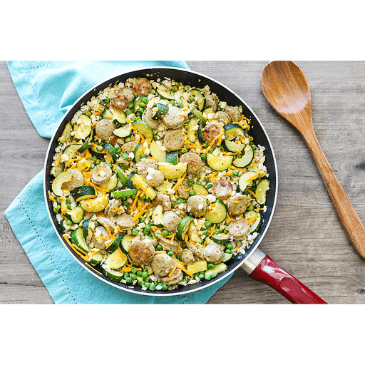 Cauli-Rice Skillet with Zucchini and Chicken Sausage
