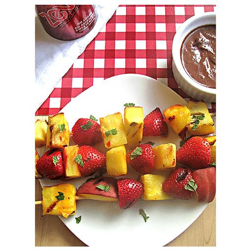 Grilled Fruit Kabobs with Chocolate Yogurt Dip