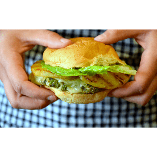 Grilled Pineapple & Pesto Turkey Burgers