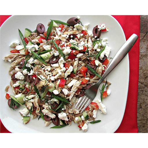 Lemony Greek Orzo Salad with Chicken